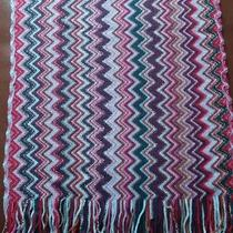New Missoni Zig Zag Multi Color Lurex Red Pink Green Soft Scarf With Fringe Ends Photo
