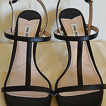 New Miu Miu Bolt Heel T Strap Black Leather Sandals Size 38.5 New Strappy Screw Photo