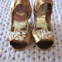 New Miu Miu Gold Leather Peep Toe Glass Jewel Ballet Flats- Sz 39/9 Photo