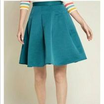 New Modcloth Expression Pleated Skirt in Teal Sz S Xl 4x Retail 75 Photo