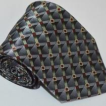 New Modern Elements Mens Gray Geometric Classic Wide Polyester Necktie Tie Photo