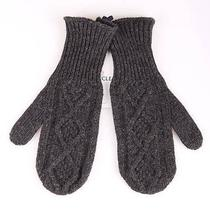 New Moncler Adorable Charcoal Gray Wool Logo Fingerless Winter Gloves L Unisex Photo