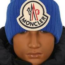 New Moncler Blue Current Collection Logo Wool Beanie Hat One Size Photo