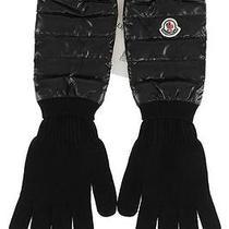 New Moncler Luxury Black Wool Nylon Logo Elbow Opera Long Casual Gloves L Photo