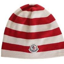 New Moncler Luxury Stretch Striped Cotton Double Layer Logo Beanie Hat One Size Photo