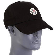 New Moncler Men's  Current Black Cotton Logo Baseball Ball Cap Hat One Size Photo