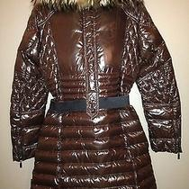 New Moncler Parka Jacket Lacquered Chocolate Brown Size 2 Belted Lots of Detail Photo