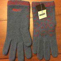 New Moschino Knitted Gloves 60% Lambs Wool   Color Blue  Photo