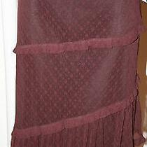 New Moschino Lace Sheer Asymmetrical Tiered Wine Skirt 12 46 Photo