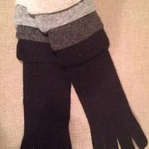 New Moschino Long Knitted Gloves 60% Lambs Wool   Black/grey Elbow Length Photo