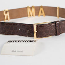 New Moschino Redwall  Croc-Embossed Brown Leather Belt Size 38 Photo