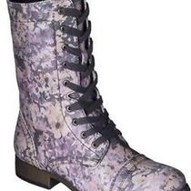 New Mossimo Punk Rockabilly Tan Faux Leather Floral Laced Combat Style Boots 10 Photo