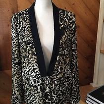 New Mossimo Thin Lapel Black Tan Ivory Animal Print Jacket Blazer Lined Size M Photo