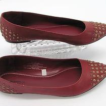 New Mossimo Womens Brick Red Bronze Studded Pointy Toe Shoe Ballet Flats 11m A5 Photo