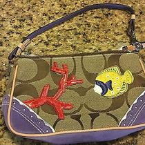 New Multi-Color Coach Small Purse Wristlet Limited Edition 1491 Fish Suede Photo