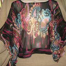 New Myth Nyc L Black Aqua Pink Batic Sequin Sheer Kimono Sleeve Top Blouse  Photo