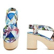 New Nasty Gal Jeffrey Campbell Falk Platform Sandal Floral Blue Flower Heel 10 Photo