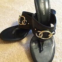 New Naturalizer Ginette Black Sandals W/gold Rings Size 8.5m Photo