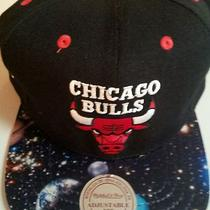 New Nba Chicago Bulls Snapback Mitchell & Ness Alternate Black/space Logo Hat Photo