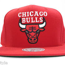 New Nba Chicago Bulls Snapback Mitchell & Ness Alternate Logo Red Hat Photo