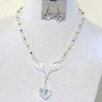 New Necklace Set Bridal Made Using  Swarovski Crystals Heart pendant& Earrings   Photo
