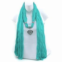 New Necklace Style Rayon Fashion Scarf W Rhinestone Heart Charm Aqua Photo