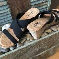 New Never Worn. Xoxo Black Strap With Cork Wedge. Women's Size 8.5 Photo