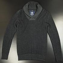 New New American Rag Shawl Collar Sweater Men M Black Heather Cotton Photo