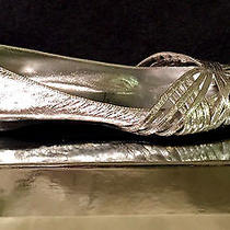 New Nib 395 Sigerson Morrison Metallic Silver Strappy Ballet Flats Shoes 6 36 Photo