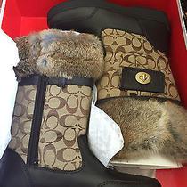 New Nib Authentic Coach Kimberly Brown Rabbit Fur Trim Boots 9.5 Signature 328 Photo