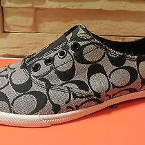 New Nib Coach Katie Black Canvas Signature 12 C Jacquard Sneaker Slip on 75 Photo