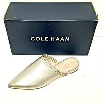 New Nib Cole Haan Raelyn Pointed Toe Mules Soft Gold Leather Flats Shoes 7 B  Photo