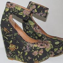 New Nib Floral Fabric Platform Wedge With Ankle Strap Sz 7 Photo