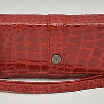 New Nicole Miller Smartphone Iphone 5 Leatherette Flip Case Wristlet Red Croco Photo