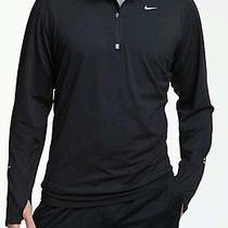 New Nike Men Medium Dri-Fit Element Half Zip Running Training Shirt Black 683485 Photo