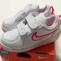 New Nike Pico Toddler Girls Shoes White Prism Pink Velcro Leather Sneakers Sz 7w Photo