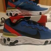 New Nike React Element 55 Game Royal Blue Mens Sz 10 Sneakers Shoes Bq6166-403 Photo