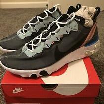 New Nike React Element 55 Ocean Cube Black Mens Sz 11 Sneakers Shoes Bq6166-300 Photo