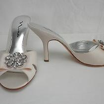 New Nina Maxwell Peach/blush Satin Sandal Pumps W Rhinestone Broach 9.5 M Enjoy Photo