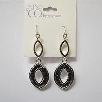 New Nine & Co. by Nine West Oval Black Small Embellished Earrings Photo