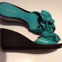 New Nine West 7.5 Bright Aqua Sandals  Photo