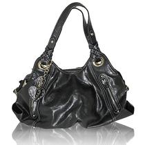 New Nine West Black Faux Leather Large Hobo Bag Ginna W/ Heart Charm Photo