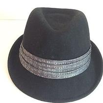 New Nine West Black Fedora Hat W/gray Paisley Trim 100% Wool Size 6 Photo
