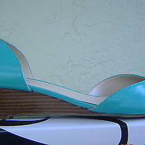 New Nine West Blue Leather Wedge Pumps Sandals Size 8 M 79 Photo