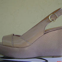 New Nine West Taupe Brown Leather Wedge Sandals Size 8 M 79 Photo
