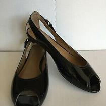 New Nine West Women's Black Patent Leather Shoes 9 Low Heel Peep Toe Open Sides Photo