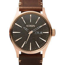 New Nixon Kids the Sentry Leather Watch Quartz Wristwatch Brown Photo