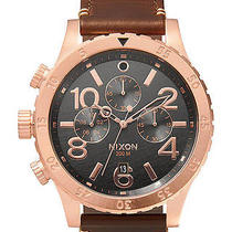 New Nixon Men's the 48-20 Chrono Leather Watch Quartz Wristwatch Brown Photo