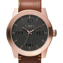 New Nixon Men's the Corporal Leather Watch Quartz Wristwatch Brown Photo