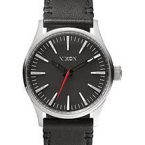 New Nixon Men's the Sentry 38 Leather Watch Quartz Wristwatch Black Photo